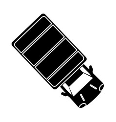 Silhouette truck top view parking lot vector