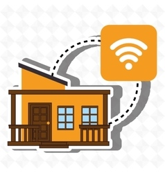 Smart home with wifi connection isolated icon vector