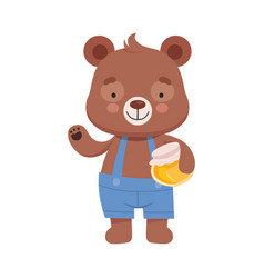 Smiling bear character wearing playsuit holding vector