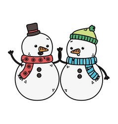 snowmen with hats holding hands decoration merry vector image