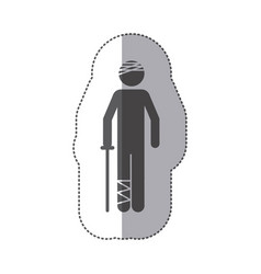 Sticker silhouette pictogram bandaged patient vector