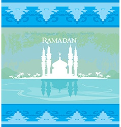Stylish ramadan kareem card vector