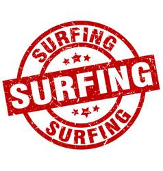 Surfing round red grunge stamp vector