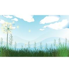 Tall grasses under blue sky vector