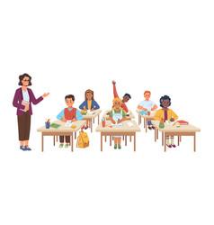 Teacher and children at desks lesson in school vector