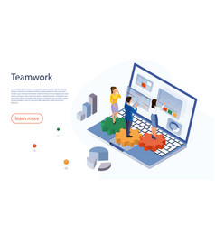 teamwork concept banner landing page for stylish vector image