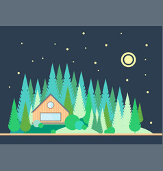 The wooden house on the edge of the pine forest vector