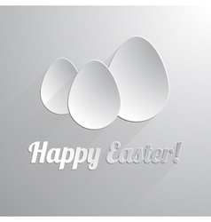 Three paper happy easter eggs vector image
