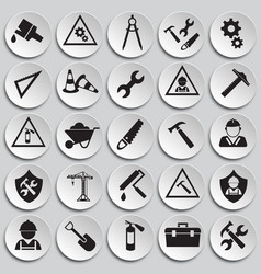 tools and construction set on plates white vector image