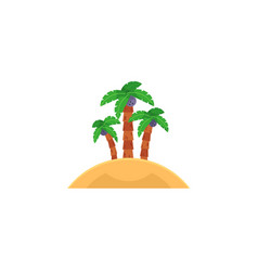 Tropical island with three coconut palm trees vector