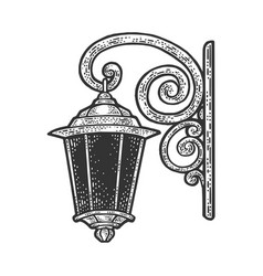 Vintage wall lantern sketch vector