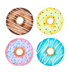 Watercolor set of donuts vector