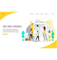 We are hiring landing page website template vector