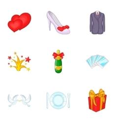 Wedding ceremony icons set cartoon style vector