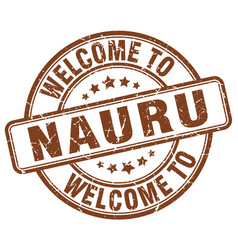 Welcome to nauru brown round vintage stamp vector