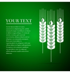 Wheat ear flat icon on green background vector