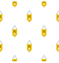 Yellow pennant with soccer ball pattern seamless vector