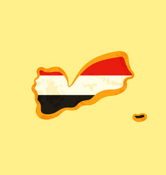 yemen - map colored with yemeni flag vector image