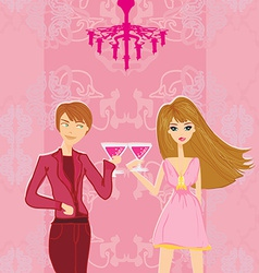 Young couple flirt and drink champagne vector image vector image