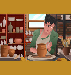 Young woman working on a pottery vector