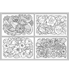 Greeting card with abstract flowers vector image