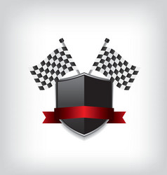 Racing flags and black shield vector image vector image