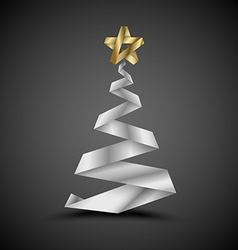 Simple christmas tree made from metalic stripe - vector image vector image