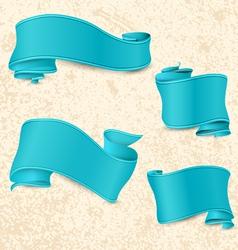 Hand drawn blue ribbons vector image