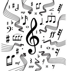 musical staves with music vector image vector image