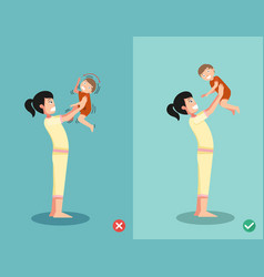 never shake a babyright and wrong ways for vector image vector image