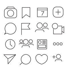 set of internet icons line outline style vector image