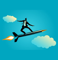 businessman on a rocket pen vector image