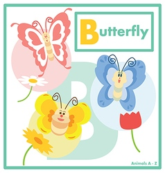 Butterfly with friends English A to Z vector image