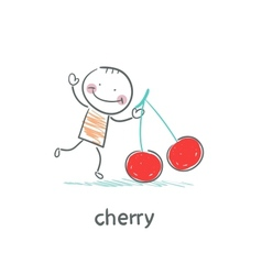 Man and cherry vector image