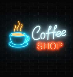 neon coffee shop signboard on a dark brick wall vector image