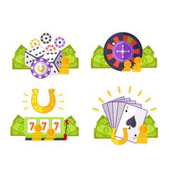 set of gambling conceptual vector image vector image