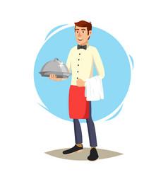 waiter cute character happy waiter vector image