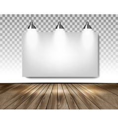 Grey room with three lights and wooden floor vector image vector image