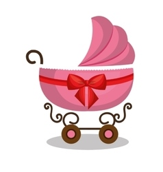 icon baby carriage pink design vector image