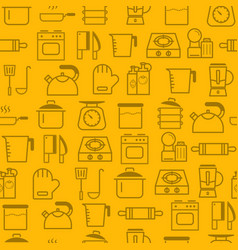 line style icons seamless pattern icons kitchen vector image