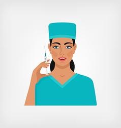 nurse with syringe vector image