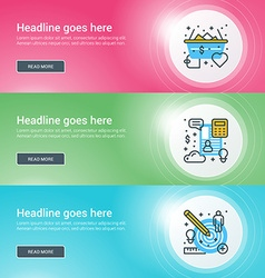 Set of flat line business website banner templates vector image vector image