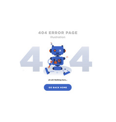 404 error page not found design with broken robot vector image
