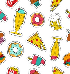 90s retro fast food patch icon seamless pattern vector