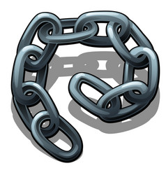 A fragment of steel chain isolated on a white vector