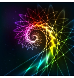 Abstract rainbow fractal spiral background vector image