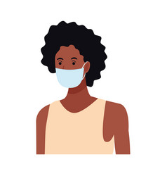 Afro woman using face mask for covid19 character vector