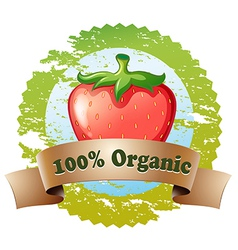 An organic label with a strawberry vector