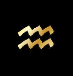 Aquarius zodiac sign gold paint sprayed icon vector