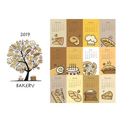 Bakery calendar 2019 design vector